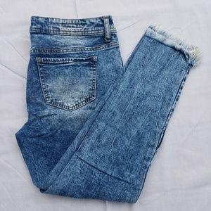 Hot Kiss Brand Acid Wash Distressed Jeans